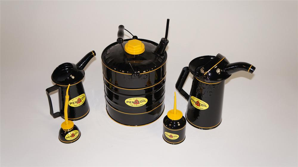 Lot of five circa 1930's-40's restored Pennzoil automotive garage service cans. - Front 3/4 - 177890