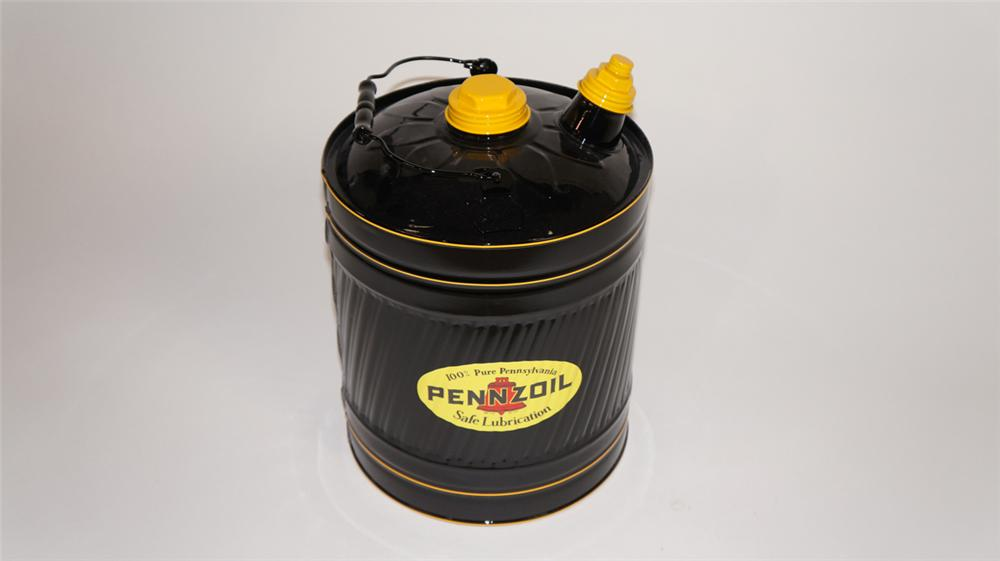 Large circa 1930's-40's restored Pennzoil automotive garage 5 gallon multi-fluid can. - Front 3/4 - 177891