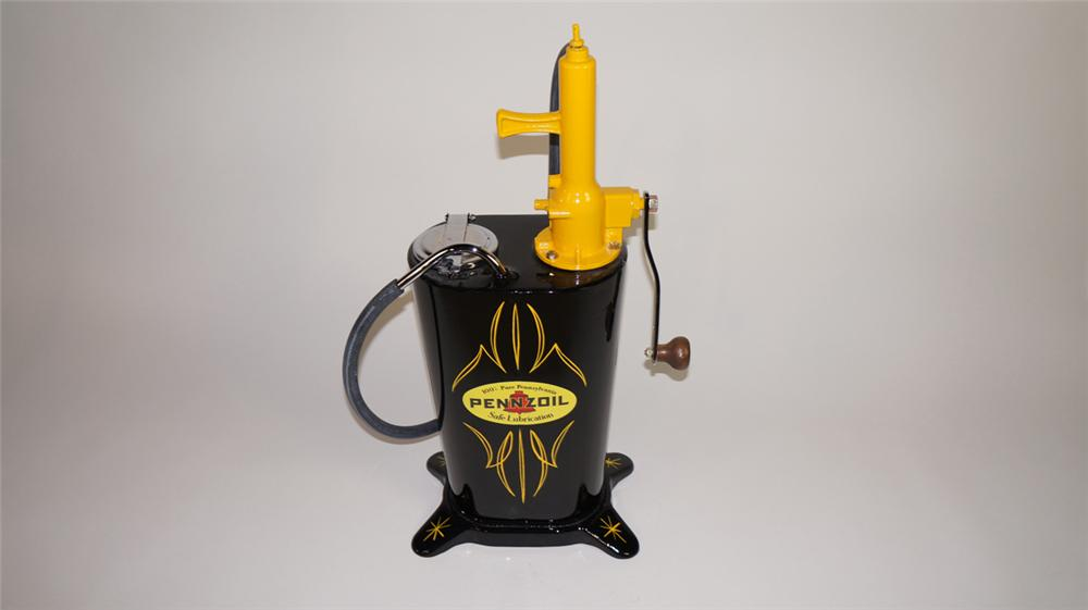 Absolutely gorgeous late 1920's-30's restored Pennzoil automotive garage five gallon hand crank greaser - Front 3/4 - 177892