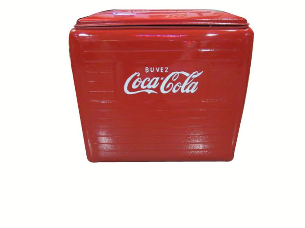 "Choice 1950's Coca-Cola restored picnic cooler ""French Canadian version"".  Out of the ordinary! - Front 3/4 - 177900"