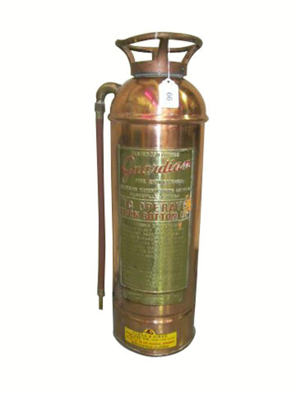 Wonderful 1920's-30's Guardian Brass automotive garage fire extinguisher. - Front 3/4 - 177902