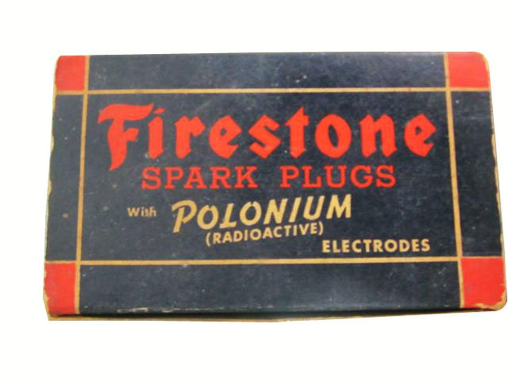 Circa 1930's Firestone Spark Plugs counter top display box full of original plugs. - Front 3/4 - 177903