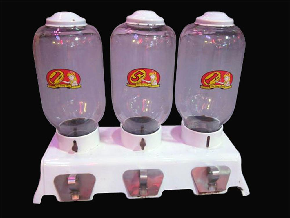Stupendous 1930's triple glass domed coin-operated counter-top peanut/gumball machine. - Front 3/4 - 177907