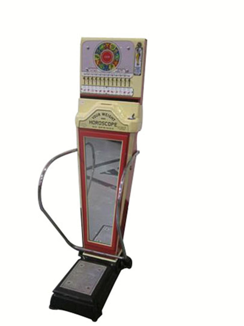 "Terrific 1940's-50's Watling ""Fortune Teller"" coin-operated drug store/service station penny scale. - Front 3/4 - 177908"