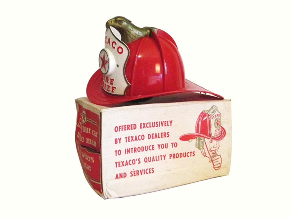1960's Texaco dealer promotional Fire Chief's hat found in the original box.  Very clean! - Front 3/4 - 177927