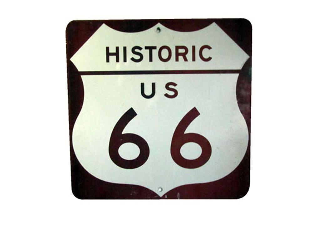 Worthy of bragging rights Historic U.S. Route 66 metal road sign. - Front 3/4 - 177936