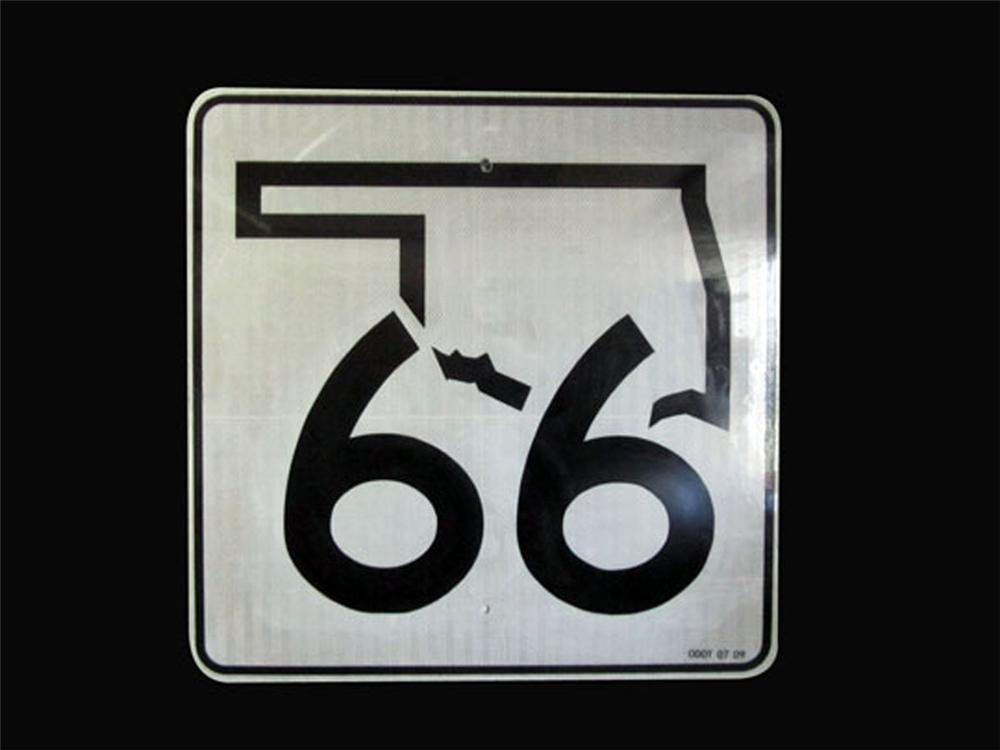 Seldom seen vintage Oklahoma Route 66 highway metal road sign. - Front 3/4 - 177937
