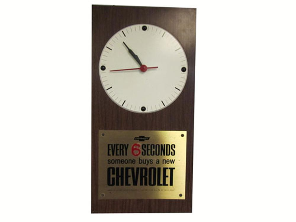 "Late 1960's Chevrolet ""one sold every six seconds"" dealership wall clock. - Front 3/4 - 177940"