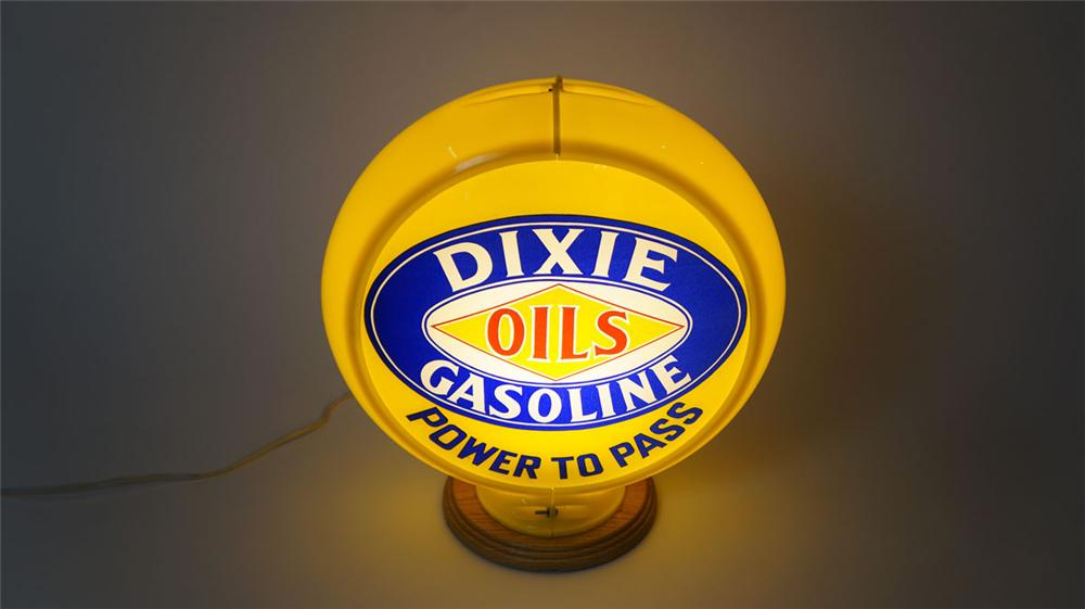 """Highly prized late 1940's Dixie Oils-Gasoline """"Power to Pass"""" glass lensed gas pump globe in a Capcolite body. - Front 3/4 - 177960"""