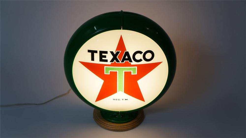 Circa 1950's Texaco Gasoline glass lensed gas pump globe in a Capcolite body. - Front 3/4 - 177962