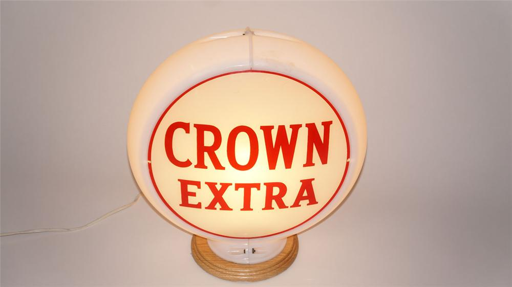 """Seldom seem Standard Oil of Kentucky """"Crown Extra"""" Gasoline glass lensed gas pump globe in a Capcolite body. - Front 3/4 - 177963"""