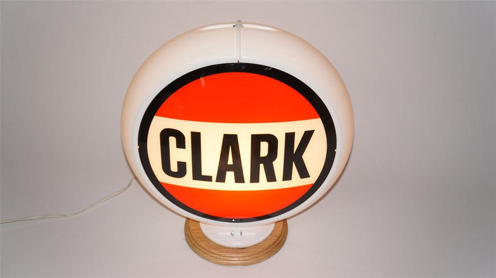 Out of the ordinary Clark Gasoline glass lensed gas pump globe in a Capcolite body. - Front 3/4 - 177966