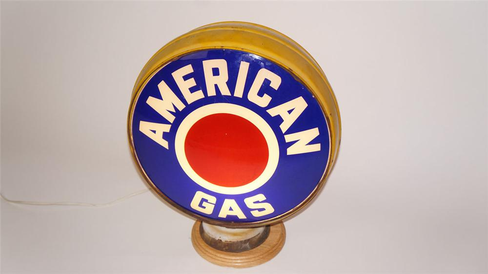 1930's American Gas metal bodied glass lensed visible gas pump globe. - Front 3/4 - 177969