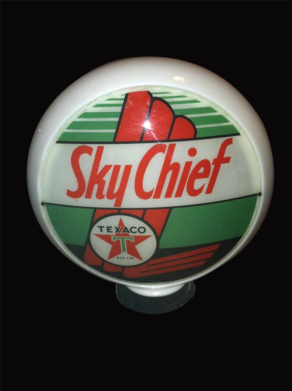 Hard to find 1940's Texaco Sky Chief gasoline wide bodied milk glass gas pump globe. - Front 3/4 - 177978