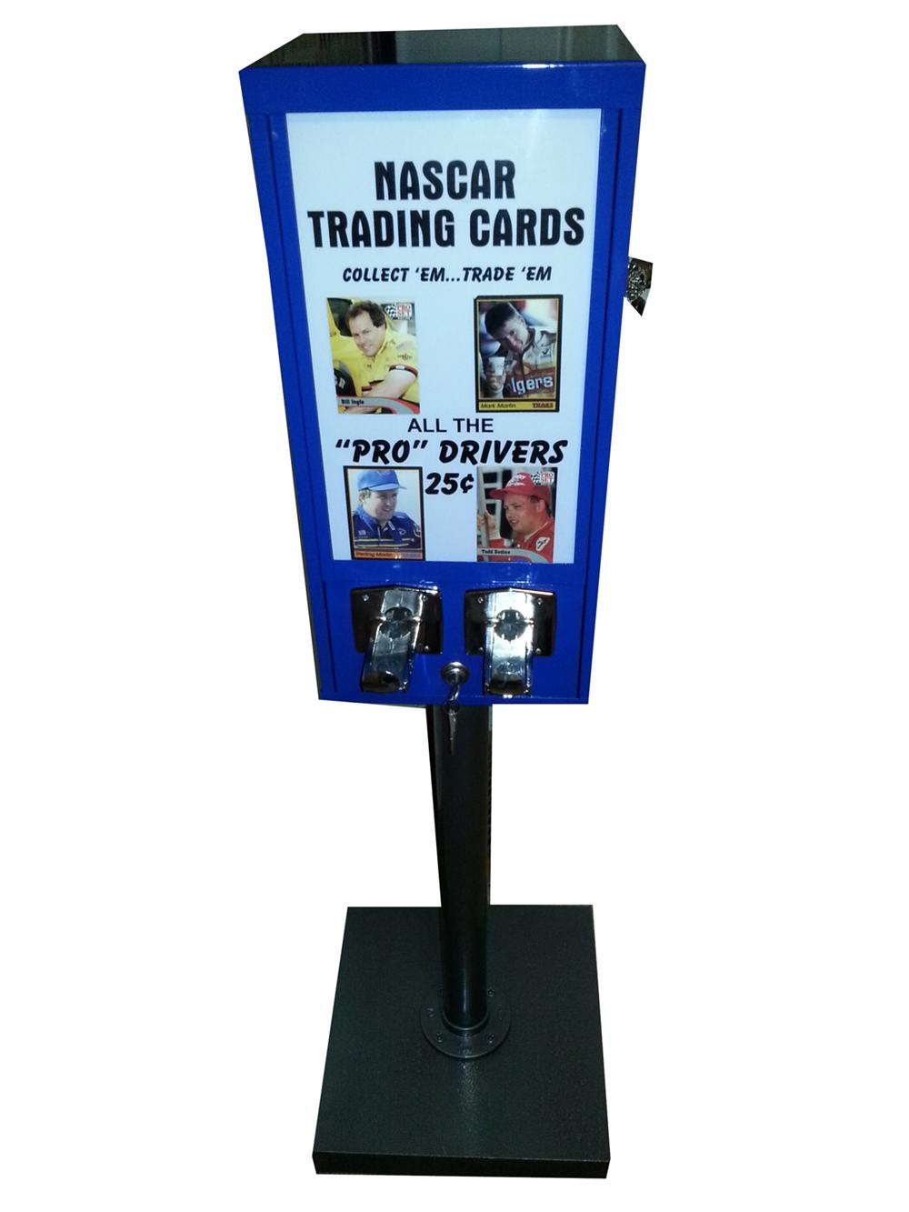Neatly restored Nascar Trading cards coin-operated vending machine. - Front 3/4 - 177987