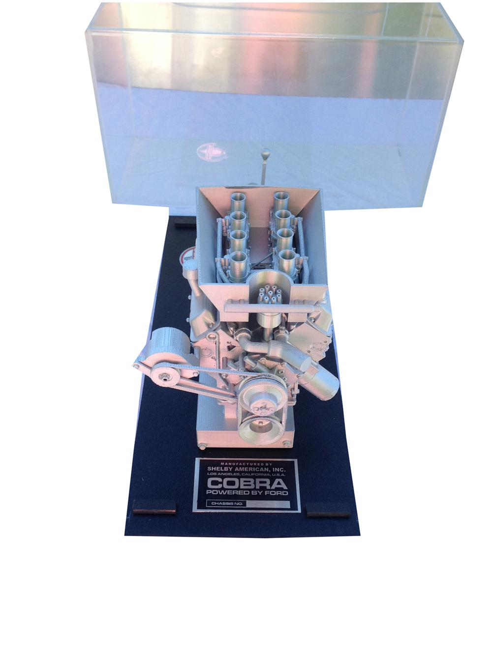 Quarter Scale model of a Daytona 289 engine and transmissions in a plexiglass display box. - Front 3/4 - 177992
