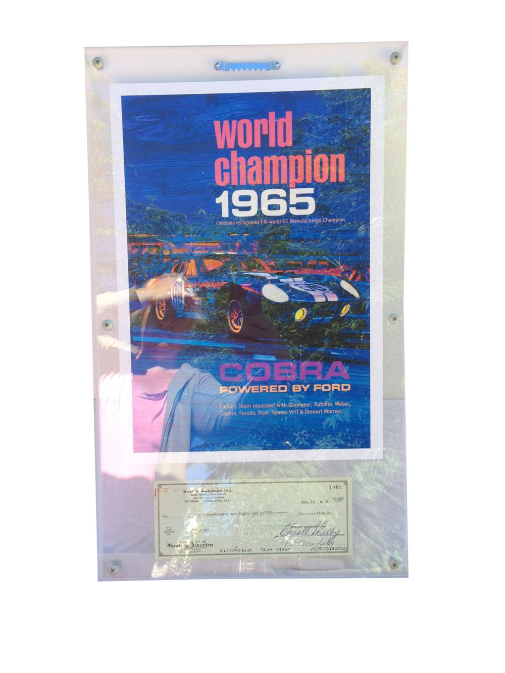 Shelby World Champ 1964 poster with a signed check from Carroll Shelby in 1962. - Front 3/4 - 177993