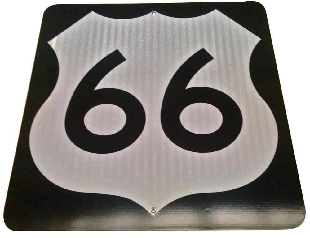 Museum quality N.O.S. vintage U.S. Route 66 highway road sign found unused in Arizona! - Front 3/4 - 177999