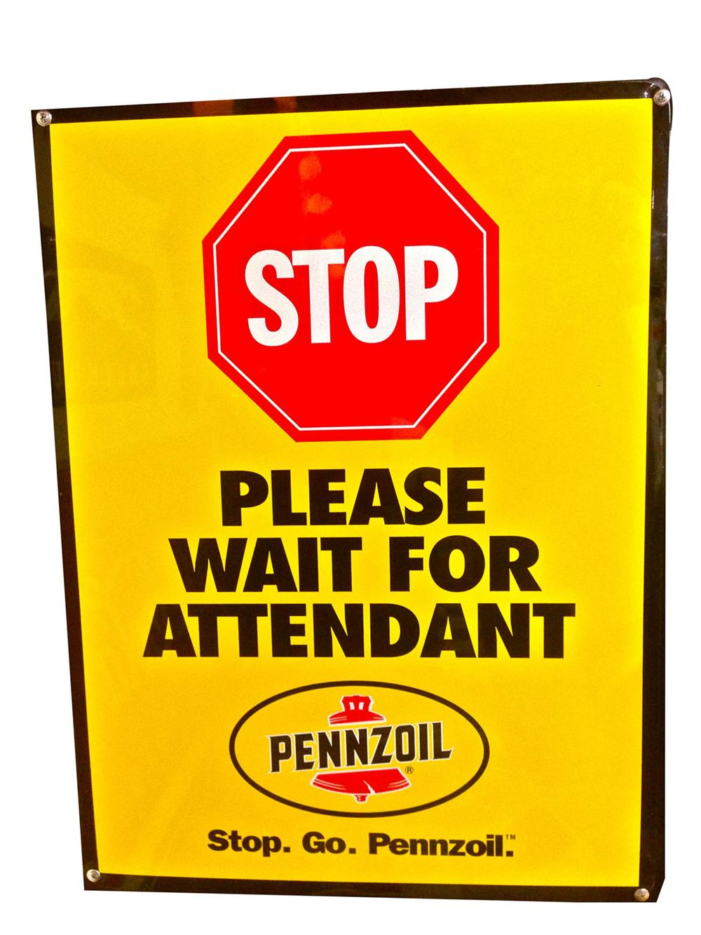 "N.O.S. Pennzoil ""Please Wait for Attendant"" tin automotive garage sign. - Front 3/4 - 178003"