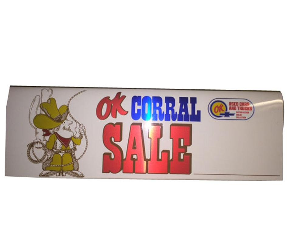 """Hard to find 1960's Chevrolet OK Corral double-sided tin car topper """"price"""" sign. - Front 3/4 - 178004"""
