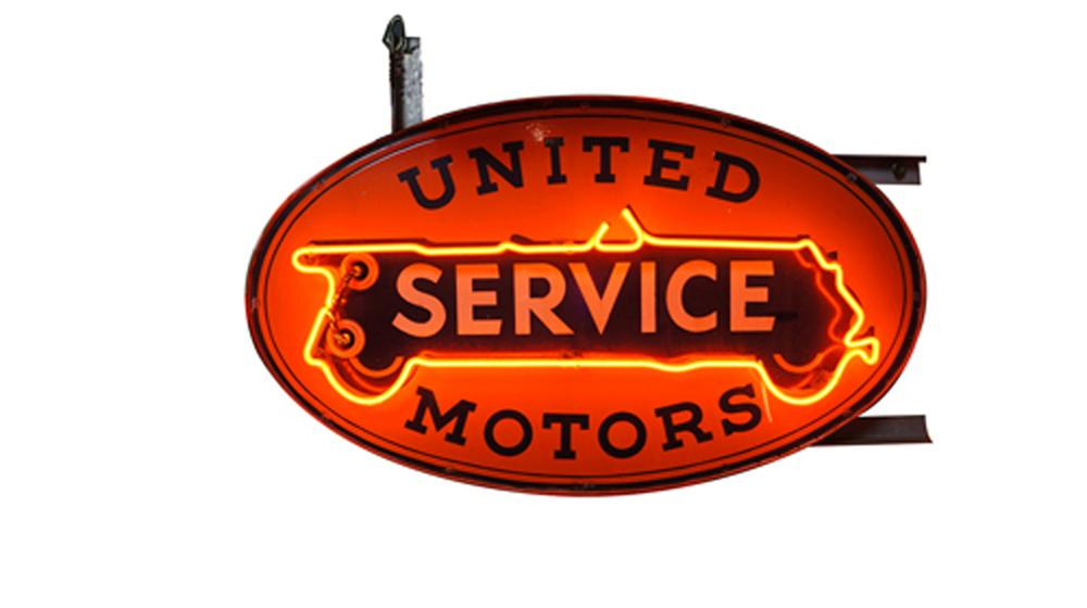 Spectacular 1930's United Service double-sided neon porcelain dealership sign. - Front 3/4 - 178008