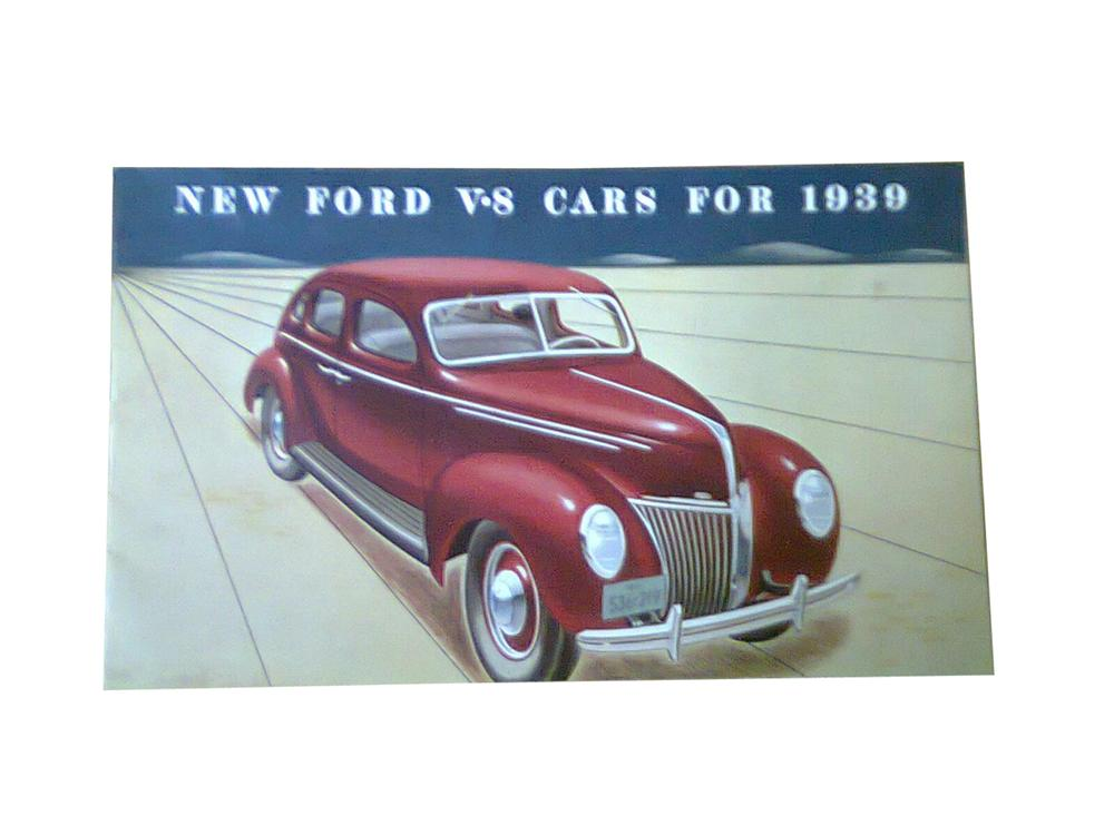 Sharp New Ford V-8 Cars for 1939 color showroom sales brochure covering the entire line-up. - Front 3/4 - 178018