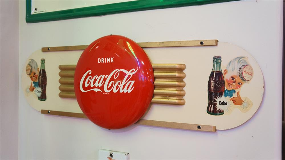 Striking late 1940's-50's Coca-Cola Kay Display masonite and tin diner sign featuring the Sprite Boy logo and Coca-Cola tin button sign. - Front 3/4 - 178732