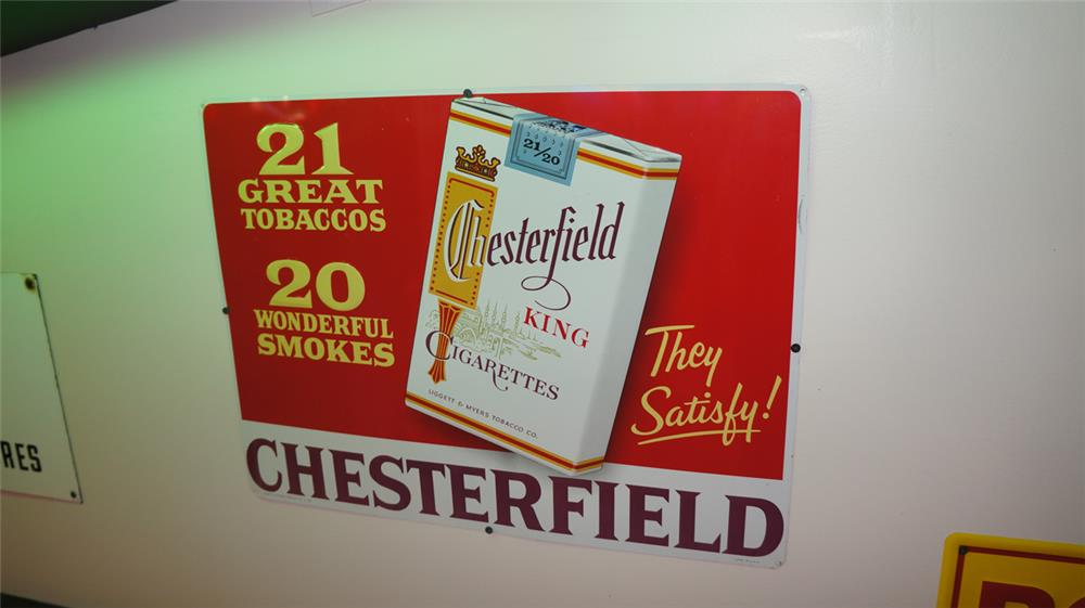 N.O.S. late 1950's Chesterfield Cigarettes single-sided embossed tin general store sign with cigarette pack logo. - Front 3/4 - 178738