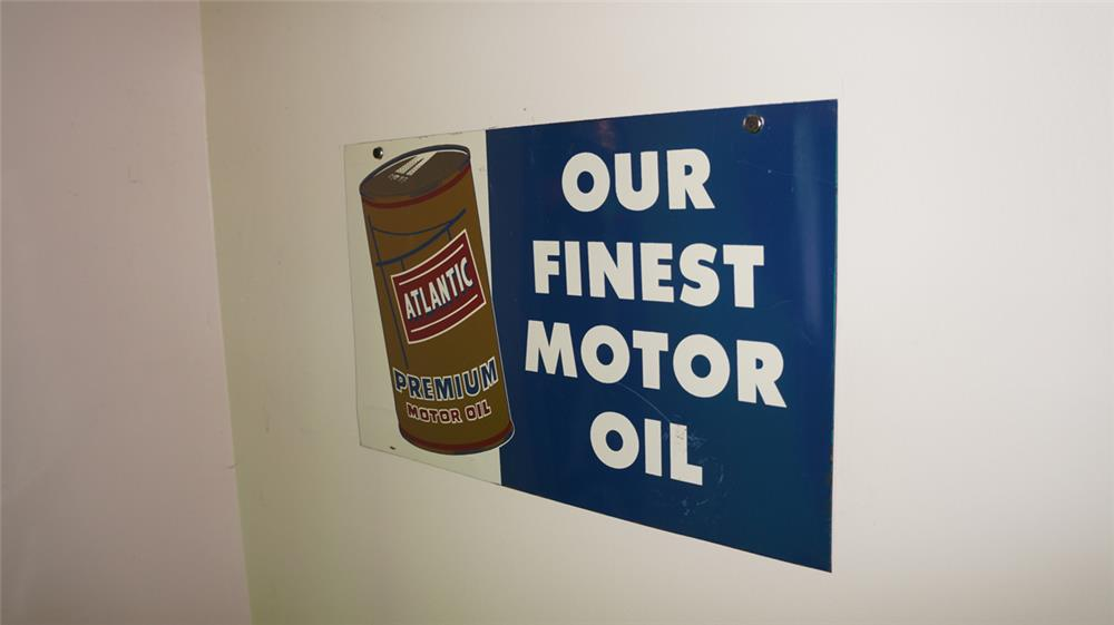 Circa 1950's Atlantic Motor Oil double-sided tin service station sign with can graphic. - Front 3/4 - 178739