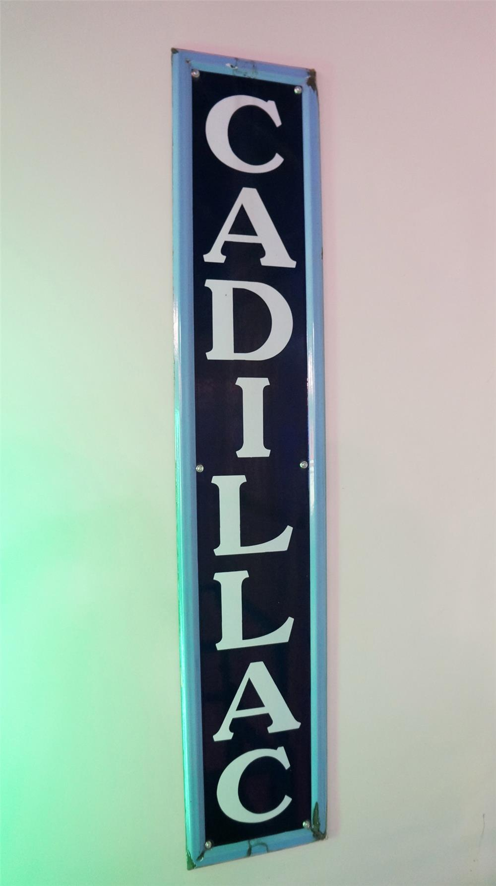 Extremely rare circa late 1920's Cadillac self-framed vertical porcelain auto-dealership sign. - Front 3/4 - 178740