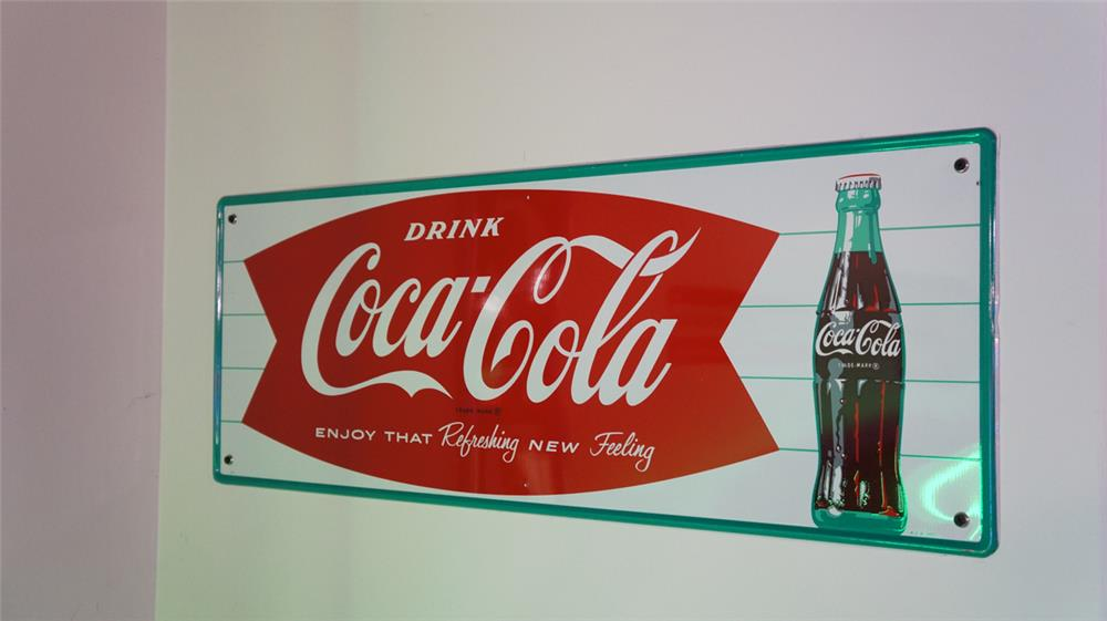 """N.O.S. late 1950's Drink Coca-Cola """"Enjoy the Refreshing New Feelings"""" single-sided self-framed tin sign with bottle graphic. - Front 3/4 - 178741"""