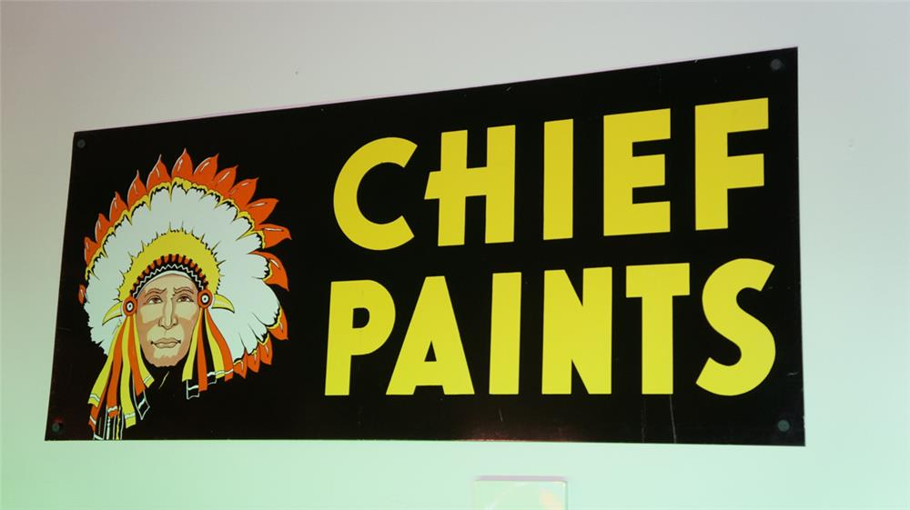 N.O.S. 1960's Chief Paints double-sided tin general store sign with Chieftain logo. - Front 3/4 - 178743