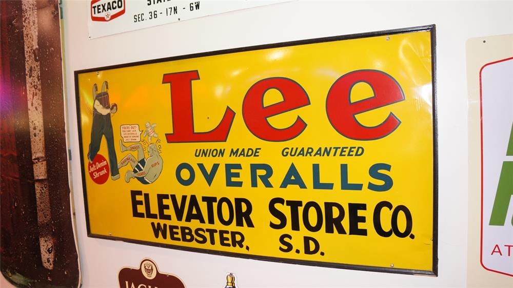 Magnificent large 1930's-40's Lee Overalls single-sided tin wood framed general store sign with awesome graphics. - Front 3/4 - 178745