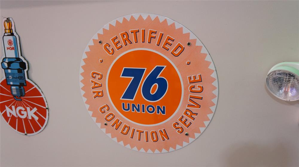 Sharp N.O.S. 1950's Union 76 Certified Car Condition Service single-sided porcelain service station sign found unused! - Front 3/4 - 178746