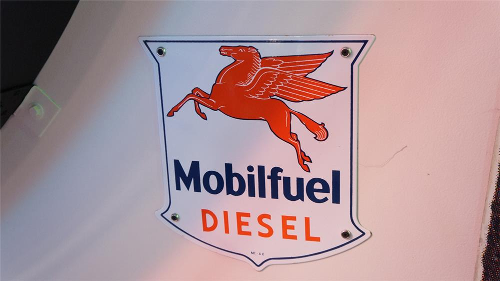 Very clean 1950's Mobil Fuel Diesel porcelain pump plate sign with Pegasus logo. - Front 3/4 - 178751
