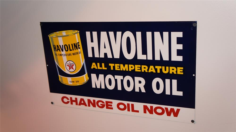 N.O.S. 1950's Texaco Havoline Motor Oil single-sided tin sign with can logo. - Front 3/4 - 178752