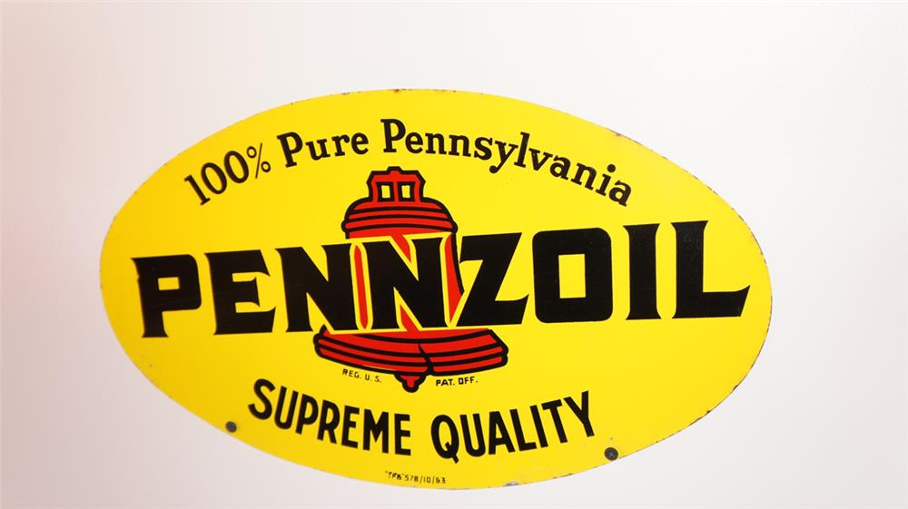 N.O.S. 1963 Pennzoil Motor Oil double-sided tin automotive garage sign. - Front 3/4 - 178759