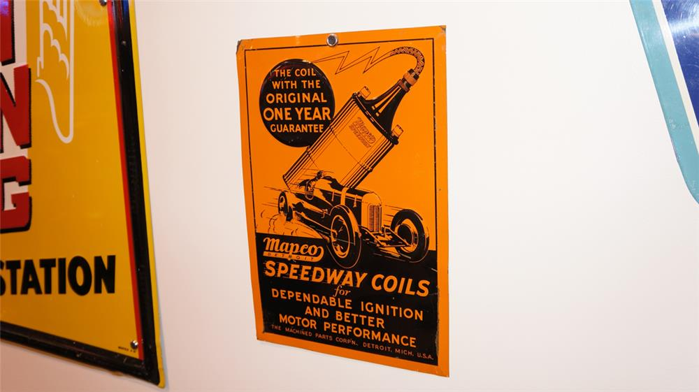 Fabulous 1930's Mapco Speedway Coils automotive garage tin sign with period race car depicted. - Front 3/4 - 178760