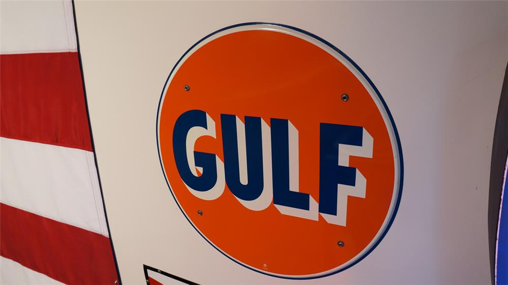 N.O.S. 1963 Gulf Oil single-sided tin automotive garage sign. - Front 3/4 - 178763