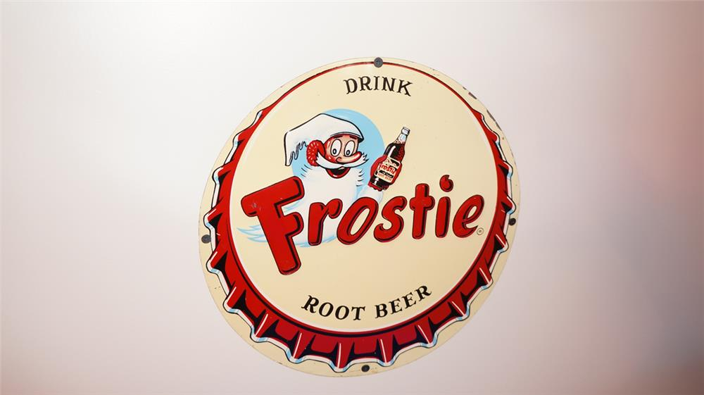 N.O.S. 1950's Frostie Root Beer single-sided tin sign with outstanding graphics. - Front 3/4 - 178766