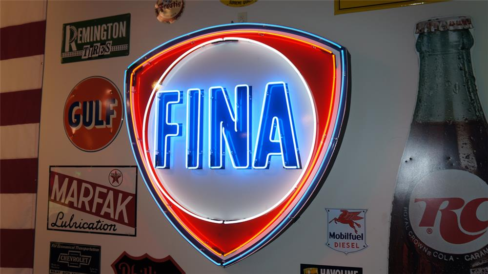 Wonderful large late 1950's Fina Gasoline single-sided porcelain with neon service station sign. - Front 3/4 - 178771