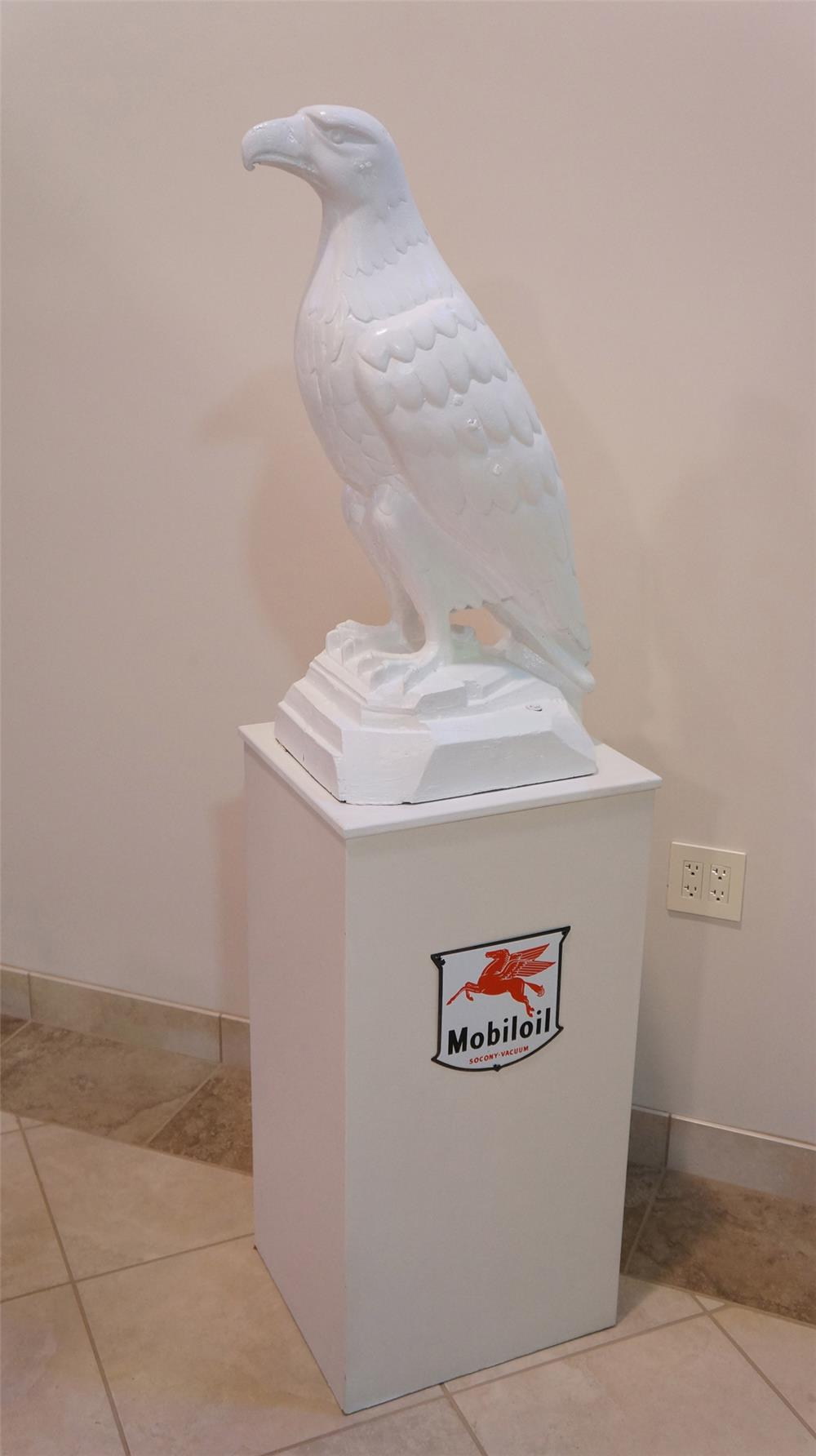 "Late 1920's White Eagle ""Mobil"" Gasoline cast iron filling station three-dimensional eagle presented on stand with original mobil oil porcelain shield sign. - Front 3/4 - 178775"