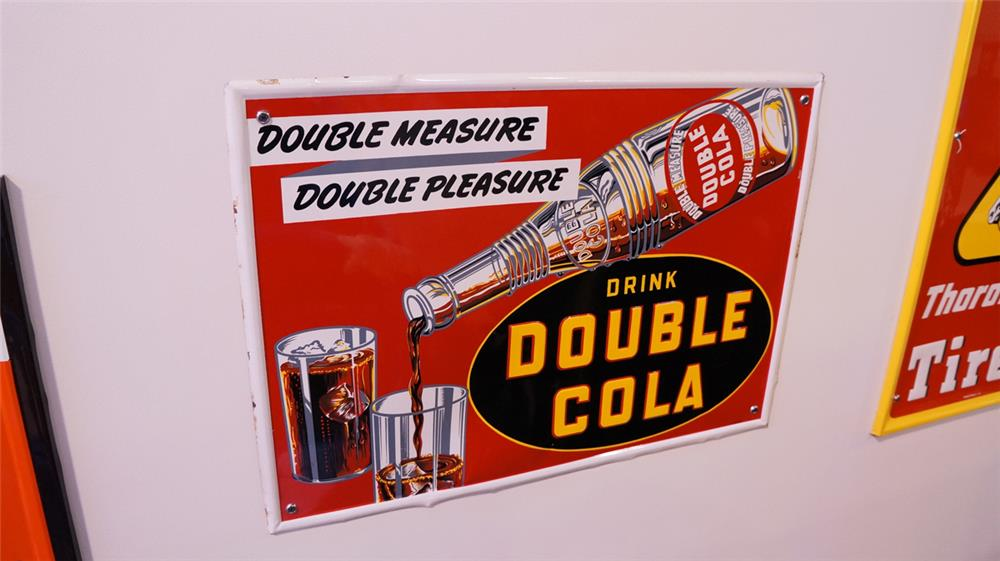 N.O.S. 1938 Double-Cola self-framed single-sided tin sign with bottle pouring graphic. - Front 3/4 - 178781