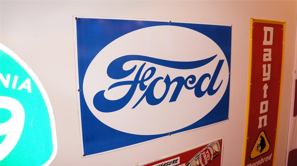 Gorgeous 1930's Ford Automobiles single-sided porcelain dealership sign. - Front 3/4 - 178784