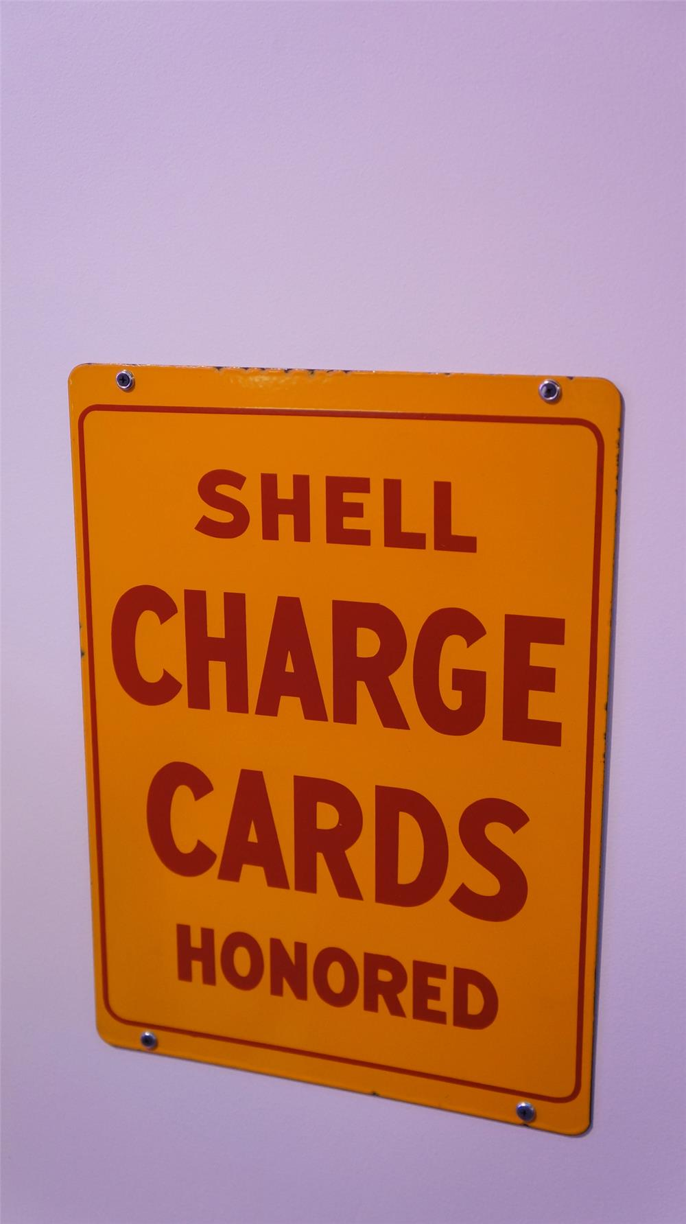 Very clean 1940's Shell Oil Charge Cards Accepted Here double-sided porcelain service station sign. - Front 3/4 - 178786
