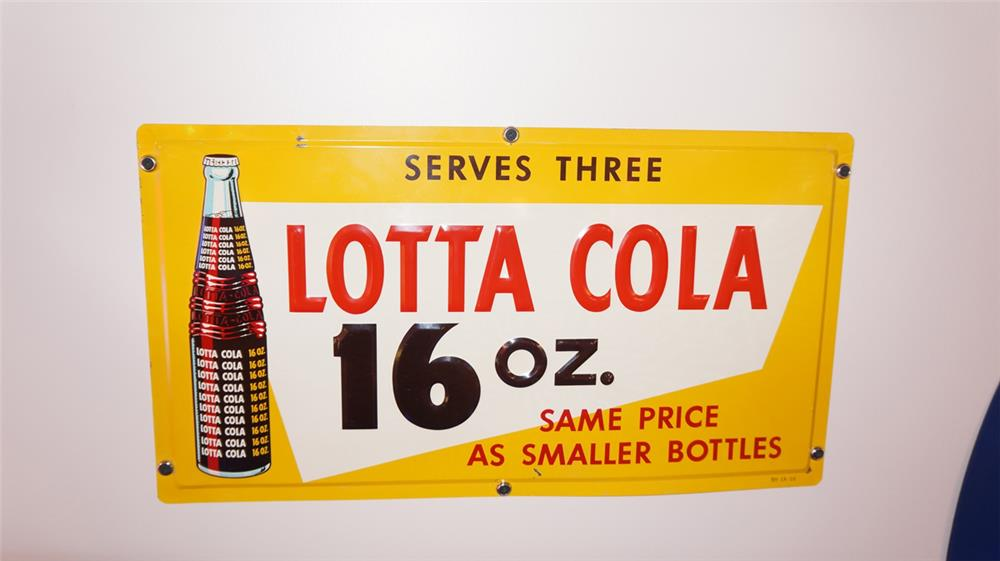 N.O.S. 1959 Lotta Cola single-sided embossed tin horizontal sign. - Front 3/4 - 178790