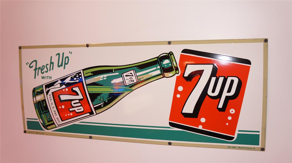 Near perfect N.O.S. 1951 7-up Soda porcelain sign with bottle graphic. - Front 3/4 - 178791