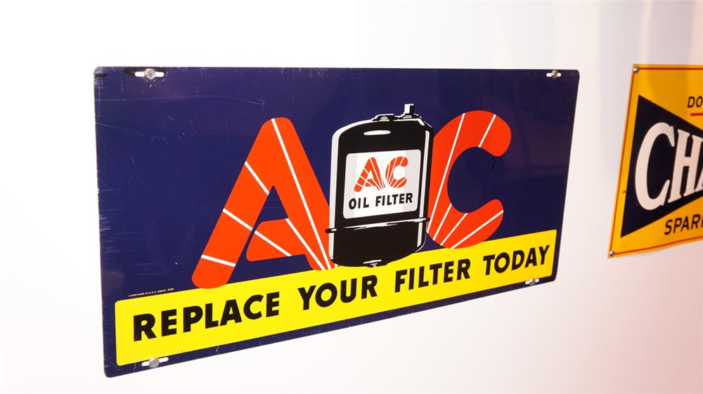 Good looking 1939 AC Oil Filters single-sided tin automotive garage sign with graphics. - Front 3/4 - 178793