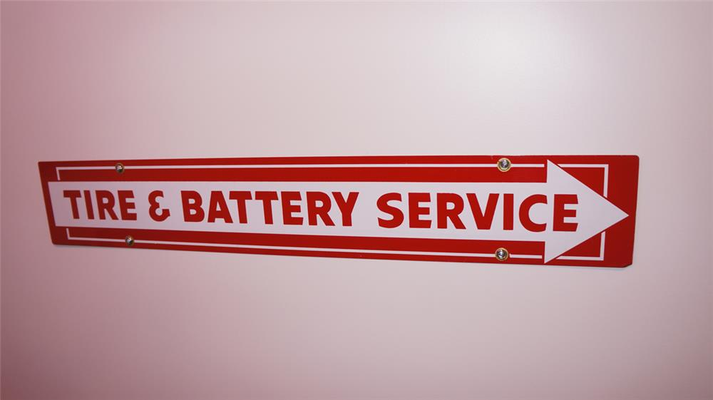 N.O.S. Firestone Tire & Battery Service double-sided tin arrow service sign. - Front 3/4 - 178794