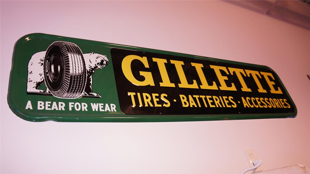 Impressive Gillette Tires - Batteries- Accessories single-sided horizontal tin automotive garage sign with bear graphic. - Front 3/4 - 178796